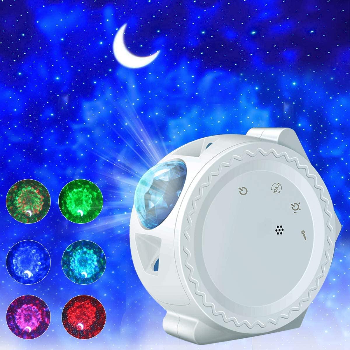 3 في 1 ستار ليلة ضوء العارض المرصعة بالنجوم السماء القمر العارض غالاكسي المحيط سديم مصباح التحكم في الموسيقى للأطفال هدايا عيد الميلاد