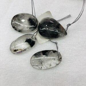 Wholesale 5pcs/lot Natural Black-inclusions Crystal; PHANTOM Quartz Bead Pendant Irregular shape Natural Gem Stone pendant,35mm+