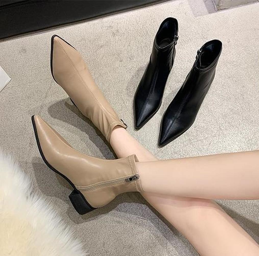 Женские ботинки в британском стиле, красные короткие ботинки в стиле ретро из мягкой кожи с острым носком, на толстом низком каблуке, Осень зима 2021