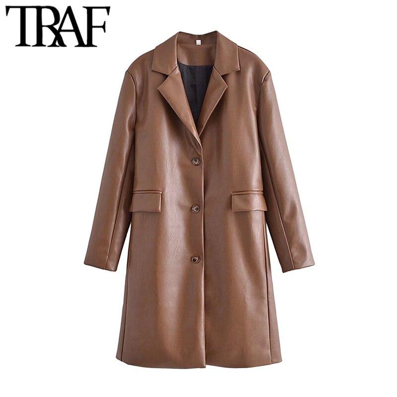 معطف من الجلد الصناعي المفرد الصدر للنساء من TRAF معطف عتيق بأكمام طويلة وجيوب واسعة للنساء ملابس خارجية أنيقة