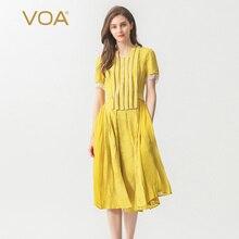 VOA Silk Embroidery Elegant Dress Women Long Pleated Dresses Lake Green Beading Belt Sweet Cute Summer Short Sleeve 5XL A500