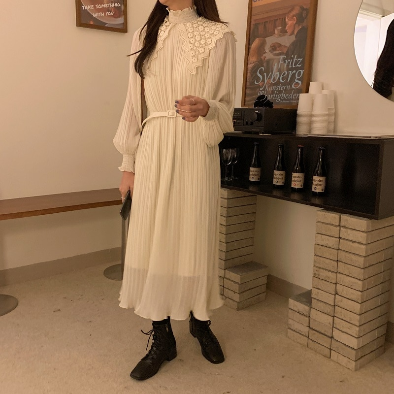H2e8b01a01a3a49d6ad03ef739dab5b86y - Spring / Autumn Lace Stand Collar Long Sleeves Pleated Midi Dress with Belt