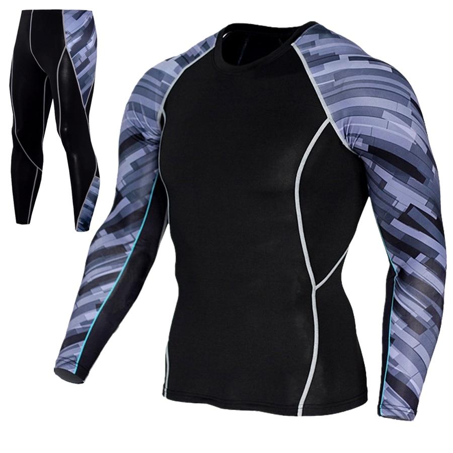 Mejor venta de deportes de los hombres camiseta + medias traje, dos conjuntos de casual para hombre 2019 de formación fitness pantalones elásticos