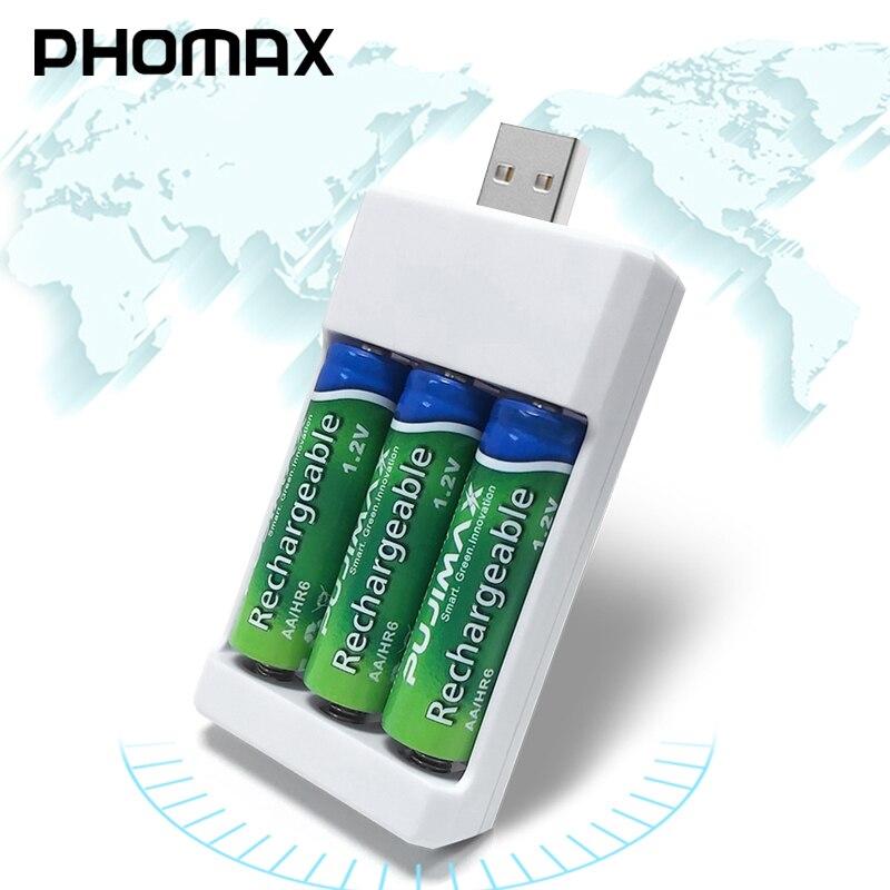 Cargador de batería recargable rápido portátil PHOMAX aa aaa 1,2 V 3pc Ni-MH/ni-cd batería recargable compacta USB 3 ranuras cargador