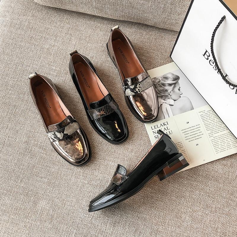 VAIR MUDO-حذاء نسائي بدون أربطة من الجلد الطبيعي ، حذاء أسود ، للربيع والخريف ، غير رسمي ، بمقدمة مستديرة ، D60