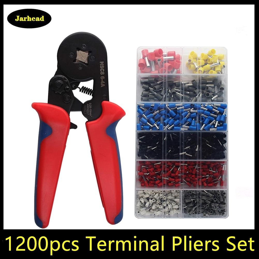 800/1200 pces terminais para o tipo de tubo tipo agulha terminal friso auto-ajuste ferramenta hsc8 6-4 0.25-10mm2 23-10awg alicate de friso