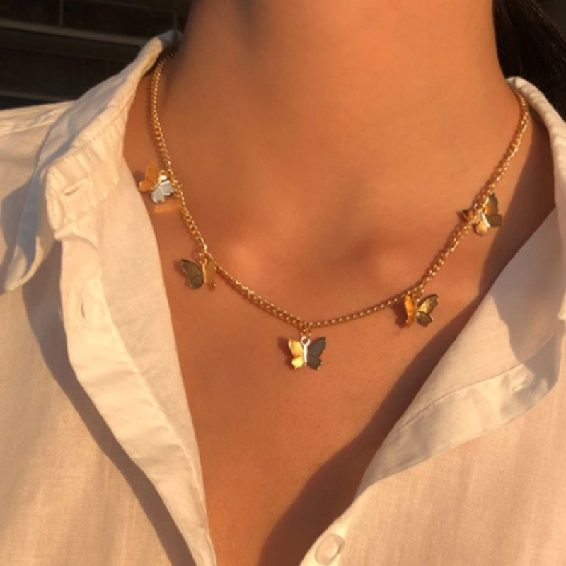 Hot Gold Silver Color Chain Pendant Butterfly Necklace for Women Layered Charm Choker Necklaces Boho