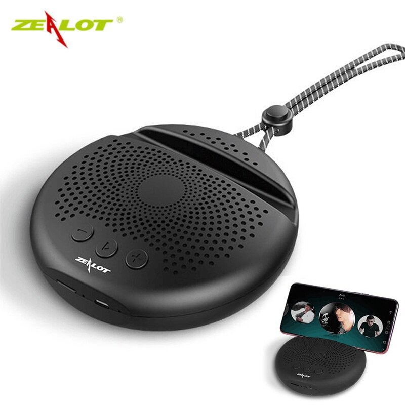 ZEALOT S24 Wireless bluetooth Speaker HiFi Heavy Bass TF Card FM Radio Handsfree bluetooth  5.0 Subwoofer with Phone Holder Mini