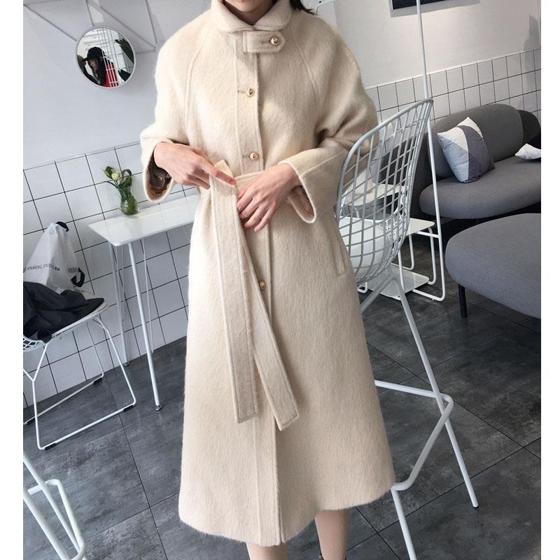 Abrigo largo de lana de Cachemira Vintage coreano chaqueta femenina otoño invierno...