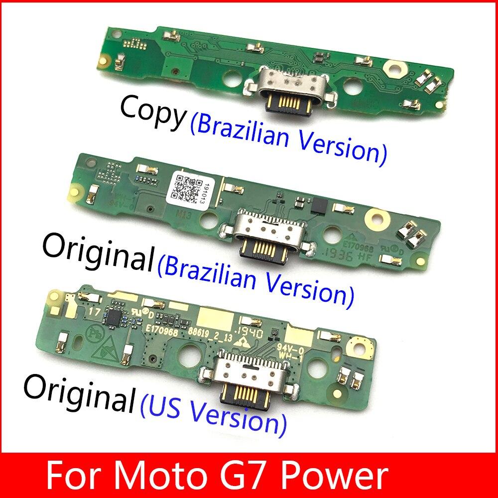 20 unids/lote cargador con puerto USB conector de clavija de base de carga Cable FLex Mic micrófono Board para Motorola Moto G7 Power