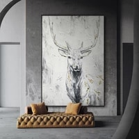 modern abstract animal canvas prints deer picture on wall big large size home decor painting frameless wall art