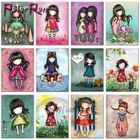 5d diy diamond painting cartoon girl picture full square round embroidery pattern 3d cross stitch kits gift mosaic wall stickers