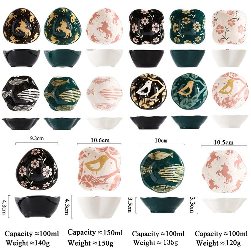 4 قطعة/المجموعة السيراميك طبق توابل وصلصة مجموعة الكورية أدوات المائدة سوشي ياباني لوحة ملونة المزجج Underglaze دعم فرن CZY52345