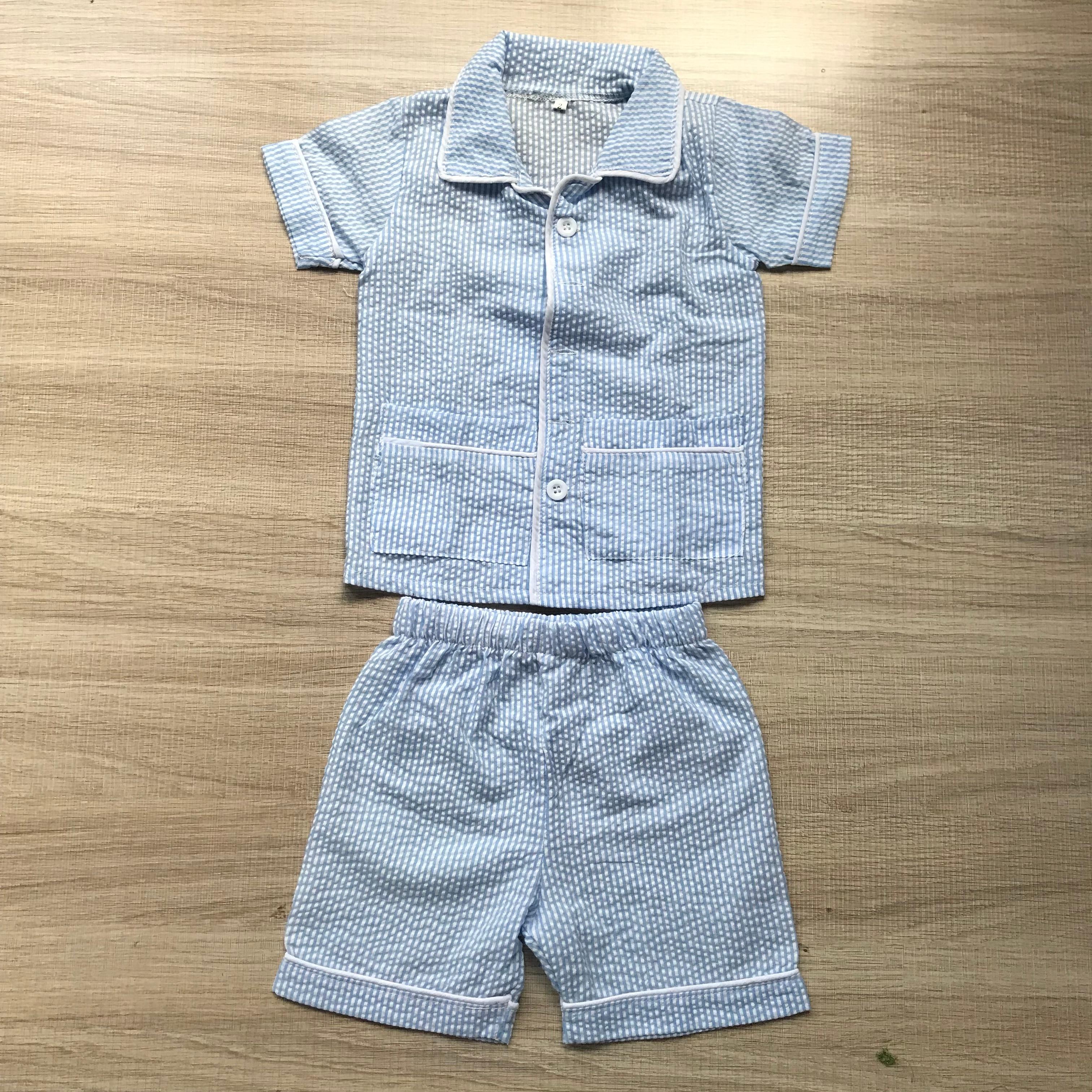 ملابس صيفية للأولاد الصغار ، قميص قصير الأكمام ، ملابس قصيرة بجيوب ، بالجملة
