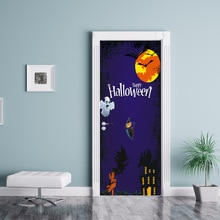Halloween Ghost Bat Deur Stickers Art Corridor Decor Pasta Lijm Mural Decal Home Decor Roestig Deur Behang DIY PVC Poster