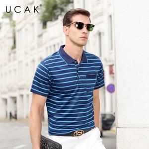 UCAK Brand Streetwear Short Sleeve Striped T-Shirts Men Clothing Summer New Fashion Turn-Down Collar Casual T Shirt Homme U5398