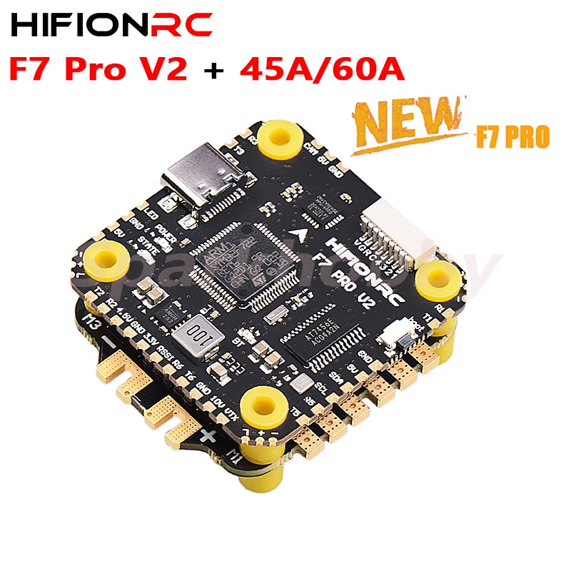 HIFIONRC Brand New F7 Pro V2 F722 Flight controller and 45A/60A Blheli-32 32bit ESC fly tower stack