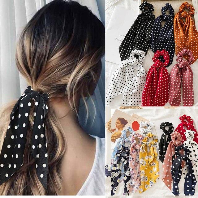 Fasihon Dot Ribbon Hair Scrunchies for Women Hair Ring Female Ponytail Chiffon Fabric Ribbon Hair Ties  Korean Hair Accessories