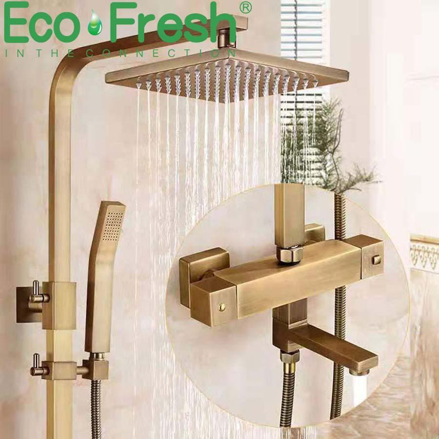 Ecofresh-مجموعة صنبور الحمام ، خلاط دش ثرموستاتي مع دش ، لمسة نهائية عتيقة