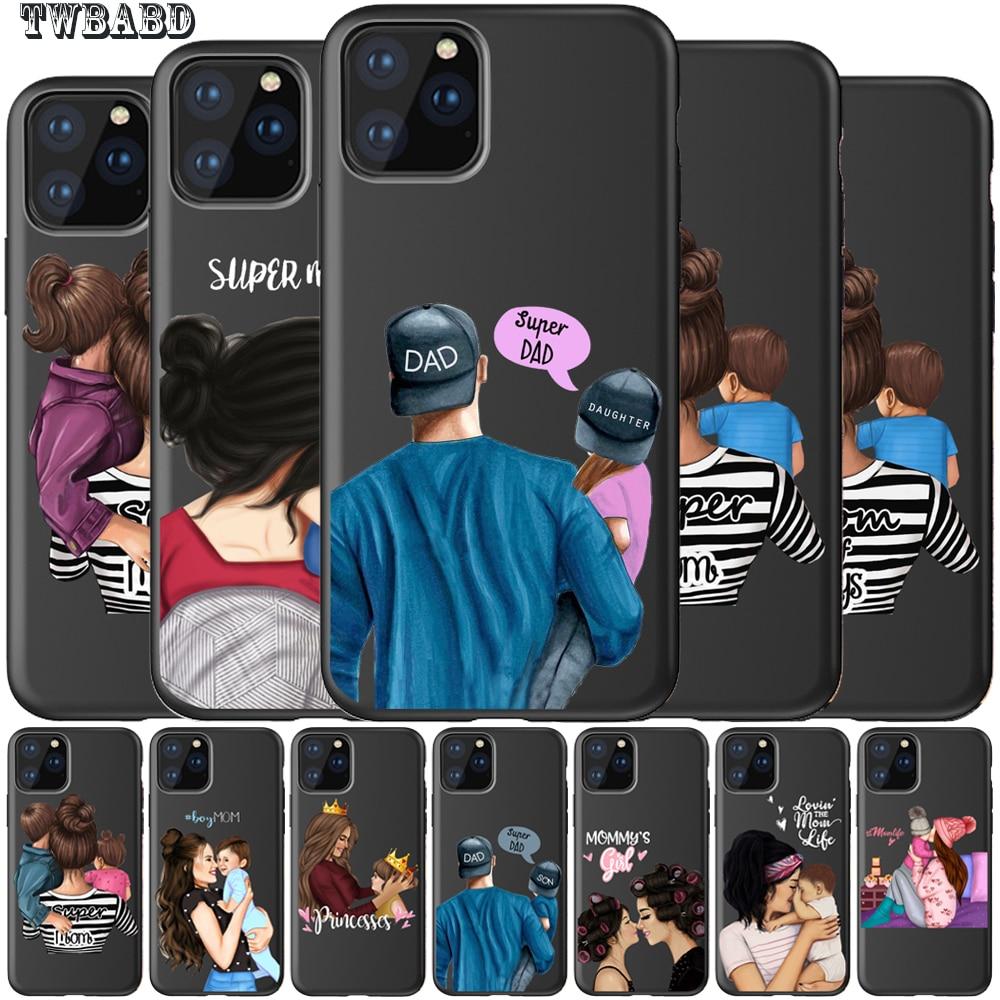 Para Fundas iPhone 11 11 Pro Max Super papá mamá bebé chica doble Shell para Iphone 5S 6S 6 7 8 Plus X XS X Max XR para Capa iPhone 8