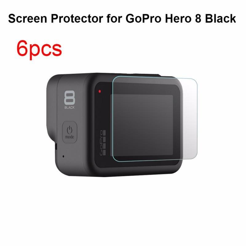 Protector de pantalla de vidrio templado 6 uds. Para Gopro Hero 8, película de vidrio templado deportiva negra para Protector de Pantalla DE LA Cámara, accesorios para cámara