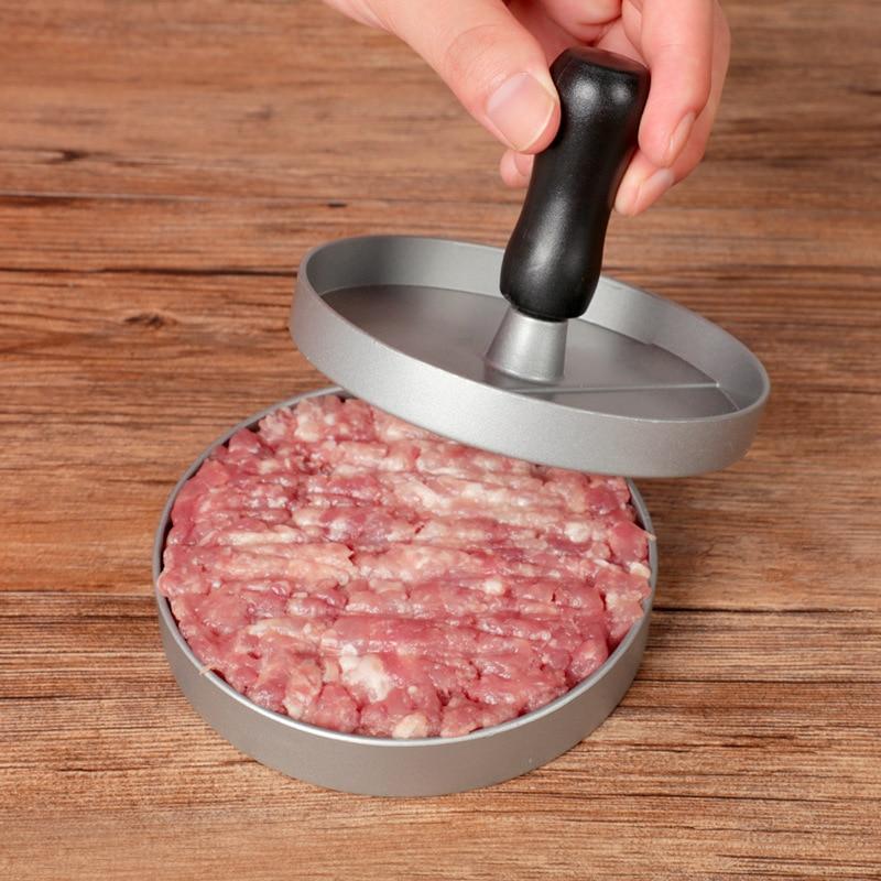 Round Shape Hamburger Press Aluminum Alloy + ABS Hamburger Meat Beef Grill Burger Press Patty Maker Mold Kitchen Meat Tools