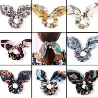 printed bowknot pearl hair rope hair ties ponytail ribbon tassel colorful hair scrunchie flower headband women hair accessories