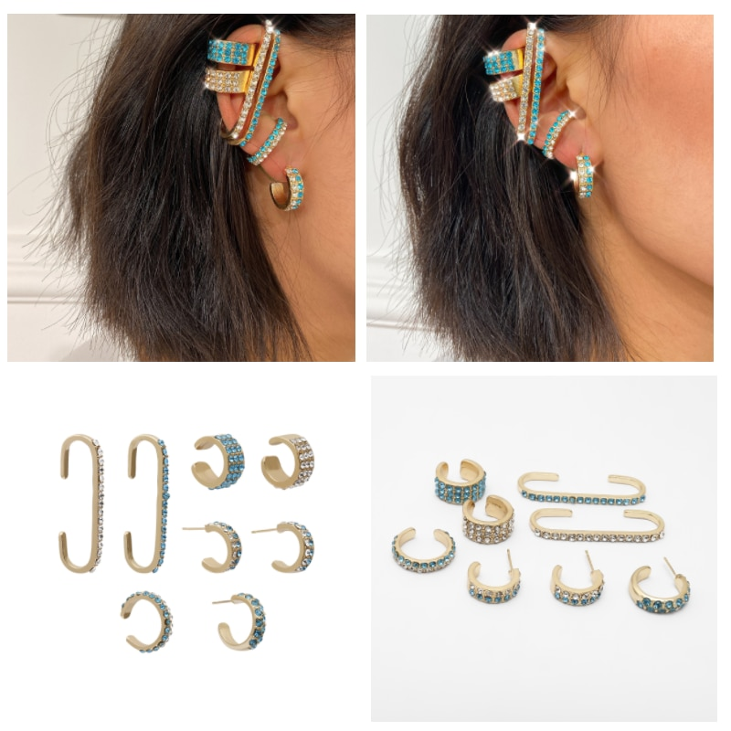 Inlaid Zircon Geometric Color Set Earrings Razor Creative Exaggerated Earrings Women  - buy with discount
