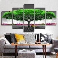 Toile avec arbre vert  5 pieces  art mural a la mode pour salon  decoration de la maison  peintures a lhuile peintes a la main  nouveaute 2021