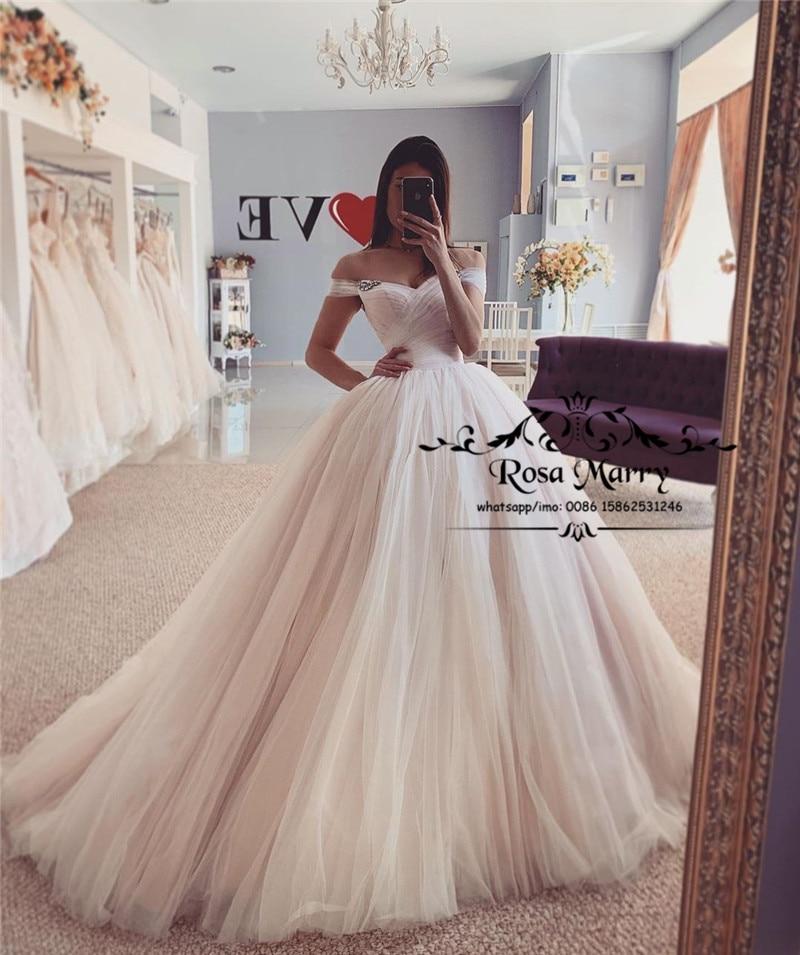 Vestidos De novia Boho baratos De color rosa rubor modesto 2020 A...