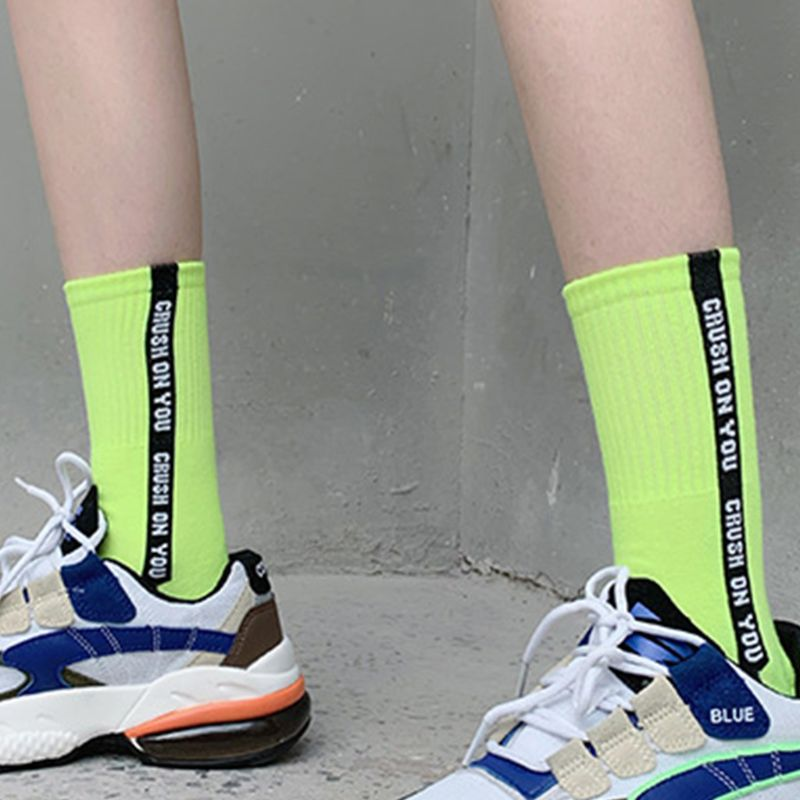 Tube Socks Fluorescent Color Vertical Strip Refresh Casual Style Long Hosiery