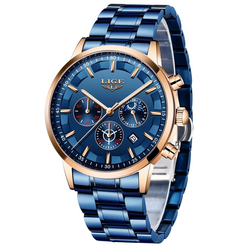 2020 Fashion Blue Watch Men LIGE New All Steel Mens Watches Top Brand Luxury Male Waterproof Quartz Clock Sports Chronograph+Box