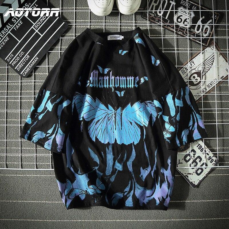 Футболка мужская оверсайз с бабочками, повседневный топ в стиле Харадзюку, хлопковая рубашка с коротким рукавом в стиле хип-хоп, уличная одежда, синяя, 2021 | Мужская одежда | АлиЭкспресс