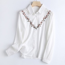 Women's Long-sleeved Shirt Flower Embroidery 2021 Japanese Style Simplicity Blouse Single-Breasted L