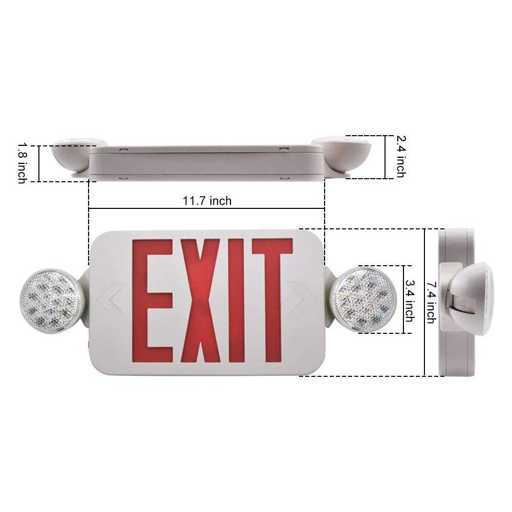 Luz de emergencia profesional salida roja compacta Combo cableado alta salida LED luz de emergencia