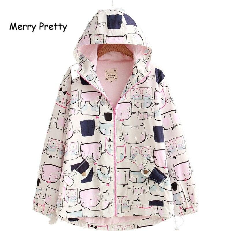 2020 nuevas chaquetas de mujer estilo Preppy lindo gato impreso con capucha chaqueta de manga larga Harajuku abrigo Mori niñas dulces prendas de vestir S-L