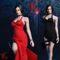 new vstoys 18xg14 16 sexy ada wong dress set 16 hanging neck long skirt black red colors for big chest body