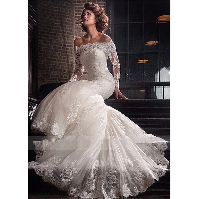Get Royal Wedding Dresses Mermaid Boat Neck Full Sleeves Tulle Floor-length Appliques Lace Up Luxury Bridal Gowns Vestido De Novia