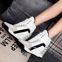 Повседневная обувь на скрытой танкетке с заклепками; Цвет черный, белый; tenis feminino; Обувь с высоким берцем; Женские кроссовки; Zapatos Mujer; 2020