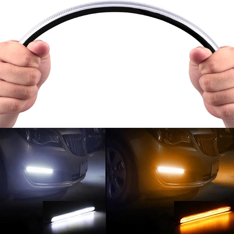 2pcs Car LED DRL Daytime Running Light Waterproof Flexible 12V Decorative Sequential Headlight Turn Signal Yellow Flow Day Light 12v yellow light car signal light 5 piece