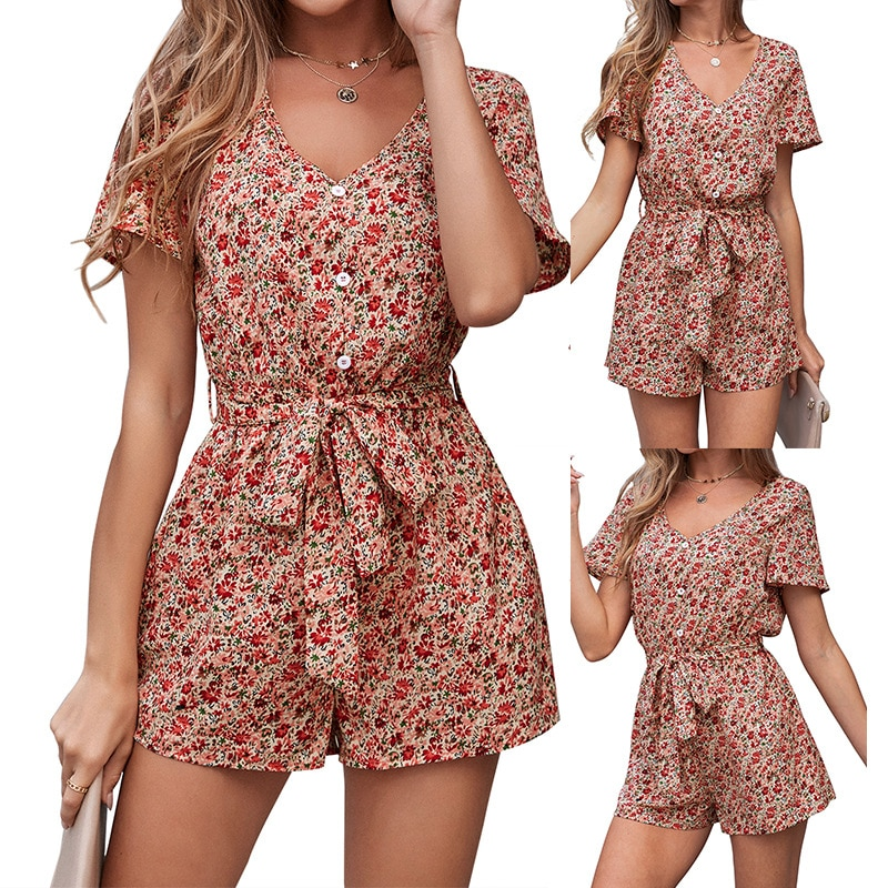 Spring/summer 2021 Europe and the United States womens new cross-border supply knot buttons jumpsuits with short sleeves