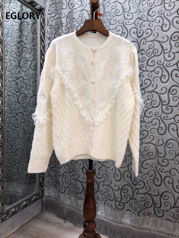 2020 Autumn Winter Fashion Sweater Cardigans High Quality Coats Women Beading Lace Patchwork Long Sleeve Knitted