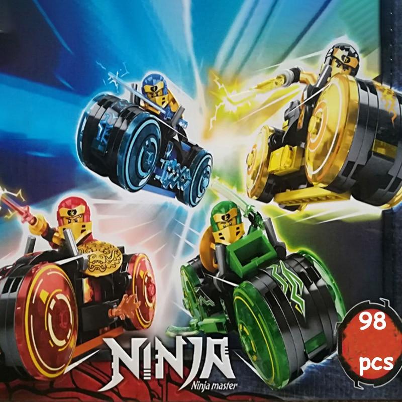 Конструктор Ниндзяго из 4 видов, модель мотоцикла, фигурки с оружием, строительные блоки MOC, детские игрушки, кирпичи, подарок для детей, маль...