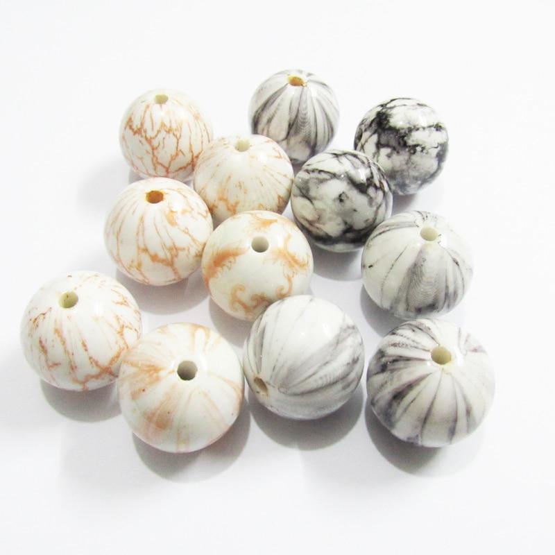 Wholesale New Design 20mm 100pcs/lot Chunky Acrylic Imitate Stone/ Printed Beads