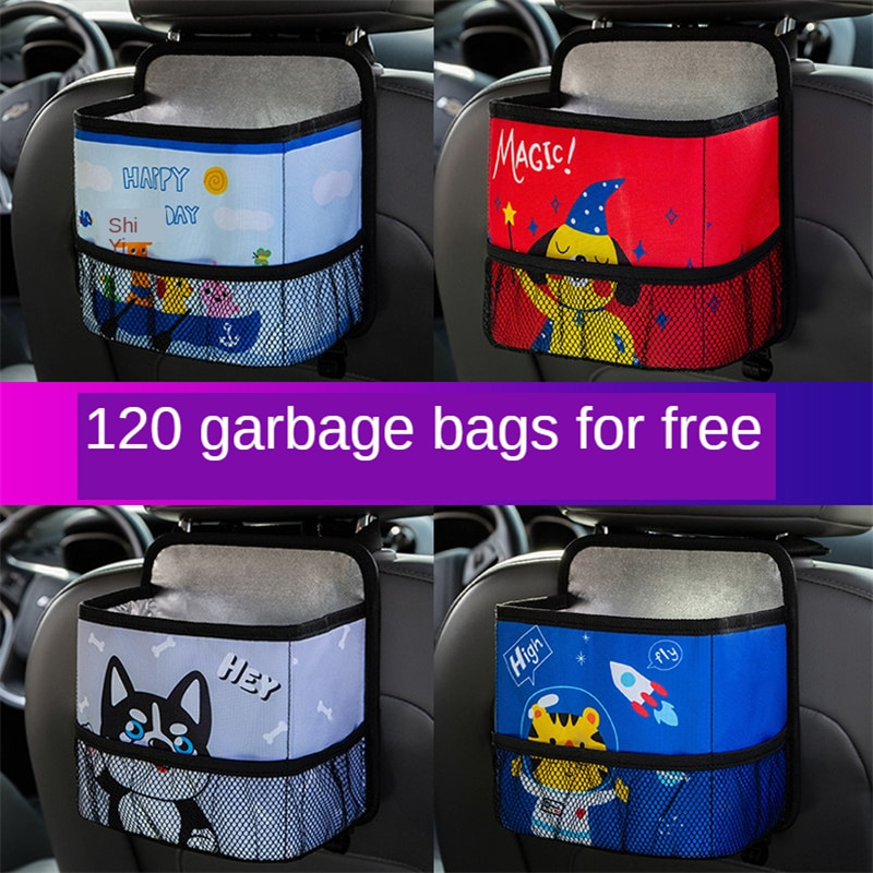E-FOUR bolsillo resistente Pack de tela compacto coche reposacabezas del asiento de vehículo del almacenamiento de titular de basura