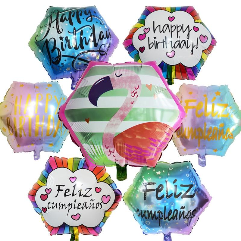 1pc 22 polegada 18 polegada espanhol hexágono feliz aniversário balões balão de hélio festa de aniversário decoração do chuveiro do bebê globos