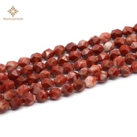 natural stone diamonds faceted red devil stone spacer star cut polygon beads 8mm for jewelry making diy bracelets necklace