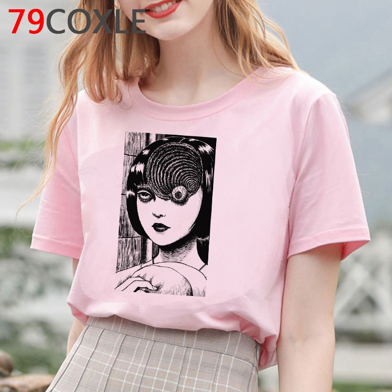 Camiseta de Manga de terror Junji Ito, camiseta de verano para mujer, camiseta de dibujos animados, camiseta de talla grande Tomie Shintaro Kago chica japonesa, camiseta de Anime femenina