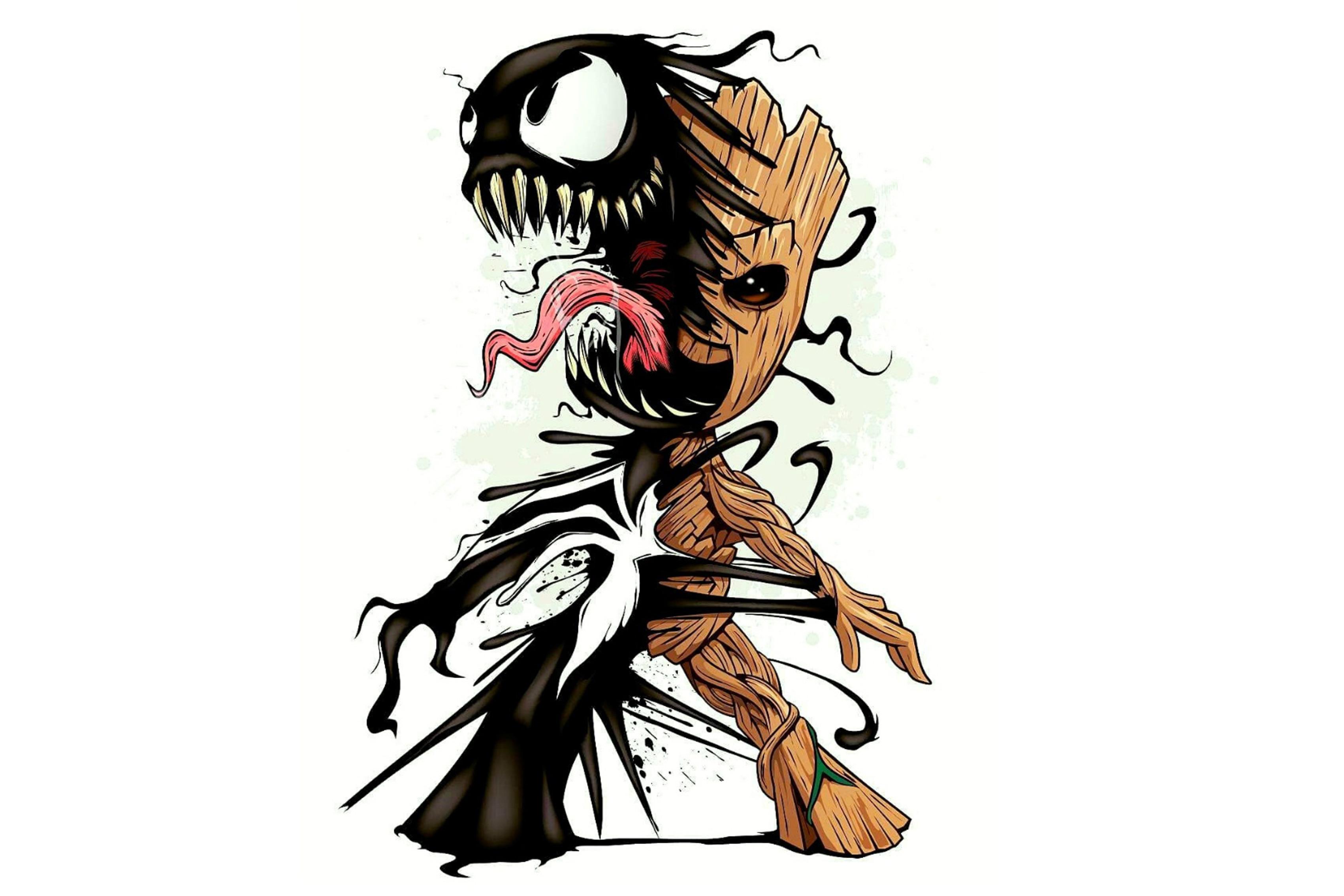 Украшение для дома marvel baby groot malysh grut venom simbiot Шелковый тканевый постер с принтом DM20200404