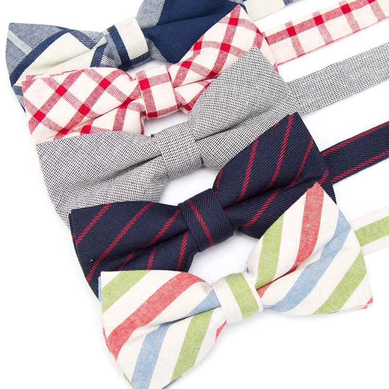 купить Men Bow Tie Stripe Cotton Fashion Necktie Paisley Business Wedding Solid Ties for Men Groom Party Shirt Gift Accessories Bowtie в интернет-магазине